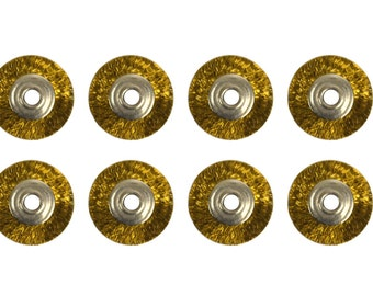 "12 Pack of 3/4"" Unmounted Crimped Wire Brass Brushes 3/32"" Hole Jewelry Cleaning Metal Finishing Polishing Rotary Tool - BRUS-0022"