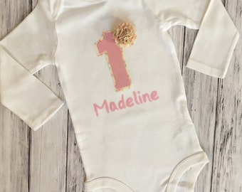 Custom Bodysuit With Name // Shabby Chic Onesie With Name // Custom Birthday Onesie With Name // Birthday Shirt With Name