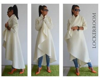 Maxi coat / White warm coat /Long extravagant coat /Women wool coat /Adorable Cashmere coat /Winter wool coat