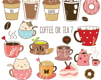 Coffee and Tea Clipart/ Donut and Latte clipart/Baking clipart/ hand drawn digital illustrations/instant download png/ cute cat Clipart