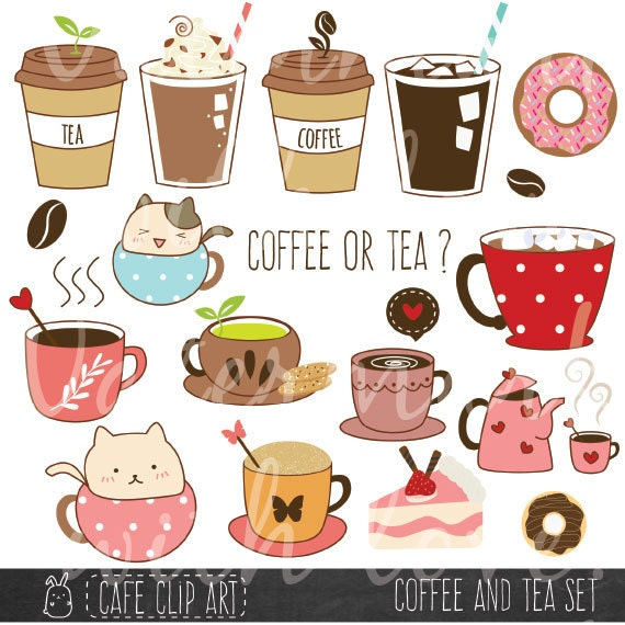 Coffee and tea clipart donut and latte clipart baking clipart hand drawn digital illustrations - Cool coffee cups that make a visual difference ...