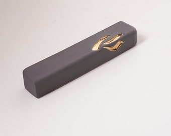 Mezuzah, Grey Mezuzah, 24K Gold, Ceramic Mezuzah, Mezuzah Case, Judaica, Jewish mezuzah, made in Israel, home decor judaica, minimal modern