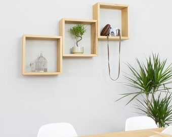 Square Cube Wall Shelves in Solid Oak - Group of Three Cubes
