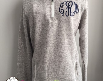 Monogrammed Quarter-Zip Pullover Sweatshirt-Monogrammed Heathered Fleece Quarter Zip Sweatshirt by Charles River-Monogrammed Sweater