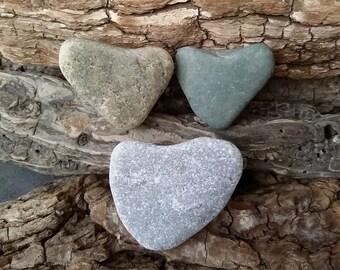 Natural Stone Hearts, 3 Loving Heart Shaped Stones, Ontario Lake Beach Stones Hearts, Valentine's Day Hearts ~ st59