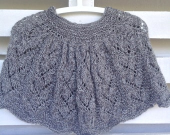 Hooded Cape, hooded capelet, hooded poncho, Shoulder Warmer,  lace grey silver knit, special gifts