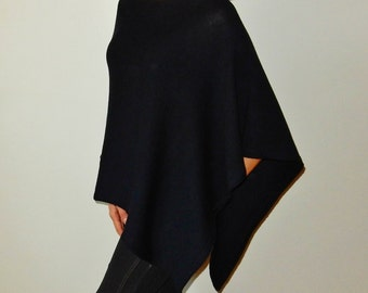 navy blue Wool Poncho for women knitted wraps merino poncho navy knit cape knitted winter poncho wrap navy ladies clothing  warm wrap shawl