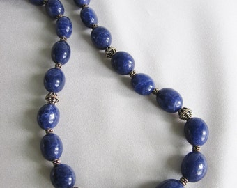 Blue quartz and sterling silver bead and clasp necklace