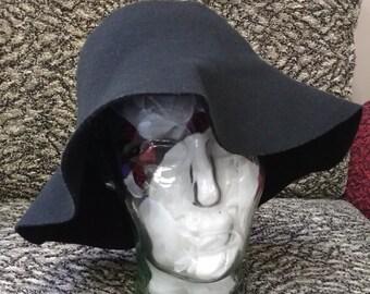 Vintage Slouch Brim Black Felt Hat