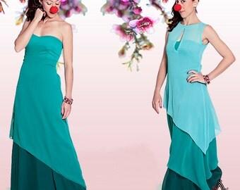 Bridesmaid Maxi Dress, Party Dress, Turquiose Wedding Dress, Strapless Graduation Dress, Mint Prom Dress. Boho Ethnic B&W Evening Dress