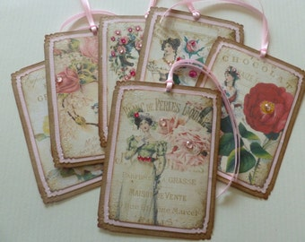 Jane Austen gift tags, regency fashion, floral, pink roses, vintage style, vintage inspired - set of 6