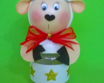 Tarro plástico de oveja bebé, muñeca de la espuma, topper de la torta, cotillón, decoración bebé, ovejas de bebé centros de mesa, buenos deseos de ovejas, bebé ducha favor