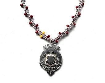Boho Beaded Necklace, Vintage Silver Pendant Necklace, Braided Pendant Necklace, Watch Fob Necklace, Silver Fob Necklace, UK Sellers Only