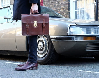 Leather Laptop Bag or Briefcase for Men in Dark Brown - Man Bag - Gifts for Him - Mens Leather
