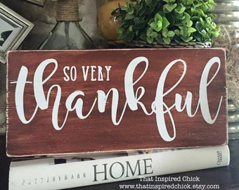 "Thankful Wood Sign | Fall Decor | Happy Fall | Rustic | Farmhouse Decor | Thanksgiving | Halloween | Distressed| Gallery Wall | 5.5""x12"""