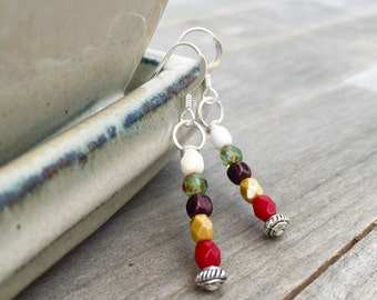 Sterling silver earrings colorful earrings colorblock jewelry iridescent beaded earrings czech jewelry boho earrings gypsy unique earrings