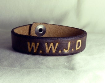 W.W.J.D Snap Leather Bracelet