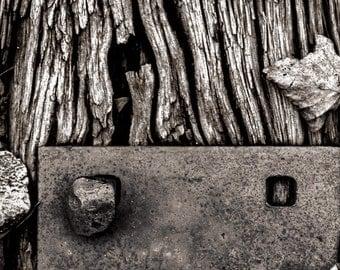 Saluda NC #3109 - North Carolina, Fine Art Photography, Black and White, Railroad Track, Weathered Wood, Home or Office Decor