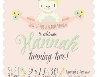 Whimsical Bunny Birthday Party Invitation | Bunny Brunch | PERSONALIZED