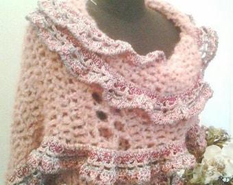 PATTERN Alpaca shawl, coral pink shrug, alpaca wrap