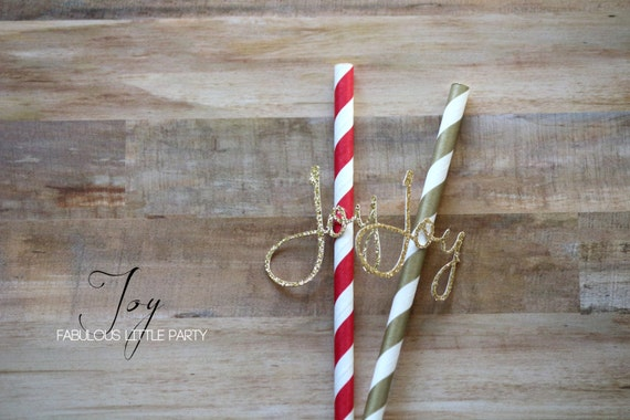 Christmas Party Decorations JOY Party Straws SET of 20 Christmas Decorations Joy Straws/Holiday Decor Gold/Red/Black Glitter Joy Straw/JOY