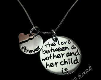 Silver jewelry / .925 silver charm necklace / The love between a mother and a child is forever. / Wedding /Gift / Love