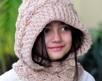 HOODED COWL PATTERN - Hooded Cowl Crochet Pattern - (Toddler, Child, Adult sizes)