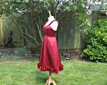 Vintage Style Dress, Floral Dress, Red Formal Dress, Sweetheart Dress, Womens Dresses, 50s Dress, Red 50s Dress, Satin, Floral Vintage Dress