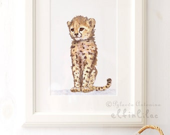 Baby Cheetah - Giclee -  Baby Animal Print - African Animal Art - Safari Nursery Art - Zoo Animal Print  - Baby Animal Nursery decor