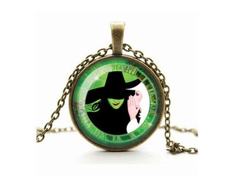 Wicked Necklace, Wicked The Musical, Glinda and Elphaba Pendant, Glass Cameo Cabochon, Tile Necklace Jewellery