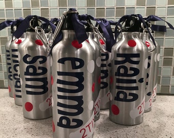 Personalized Aluminum Water Bottles - Birthday Favor - Water Bottle Favors - Kids Gifts - Team Gifts - Sports - BPA Free - Various Colors