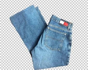 "SALE Sz 11 Tommy Jeans Logo Patch Capri Flare Jeans // 24"" Inseam 90s Vintage Medium Wash Tommy Hilfiger Jeans"