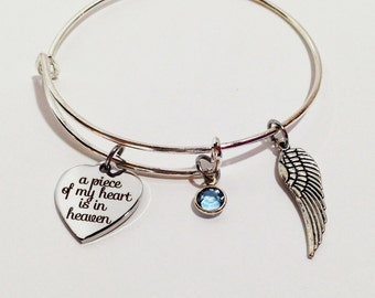Memorial Jewelry, In Loving Memory Of Mom, Dad, Grandpa, Baby Loss, Child Loss, Sympathy Gift, Adjustable Bangle Bracelet, Memorial Bracelet