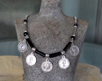 Silver Coins Necklace, Coins Necklace with Black Agate Beads, tribal necklace, Boho necklace (420)