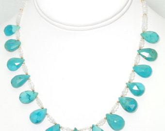 BN005- December birthstone: Genuine Sleeping Beauty Turquoise necklace, and matching earrings set