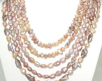 BN065- Elegant five-strand multi-color Keshi Freshwater Pearl necklace