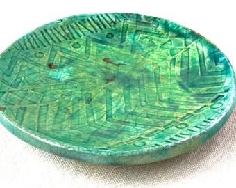 Green Metallic Jewelry Dish, trinket bowl jewelry storage raku pottery bowl ceramic dish tea rest spoon tribal ring dish