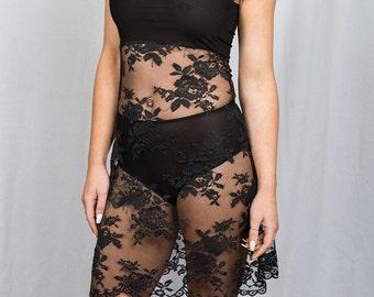 Black Sheer French lace Slip dress