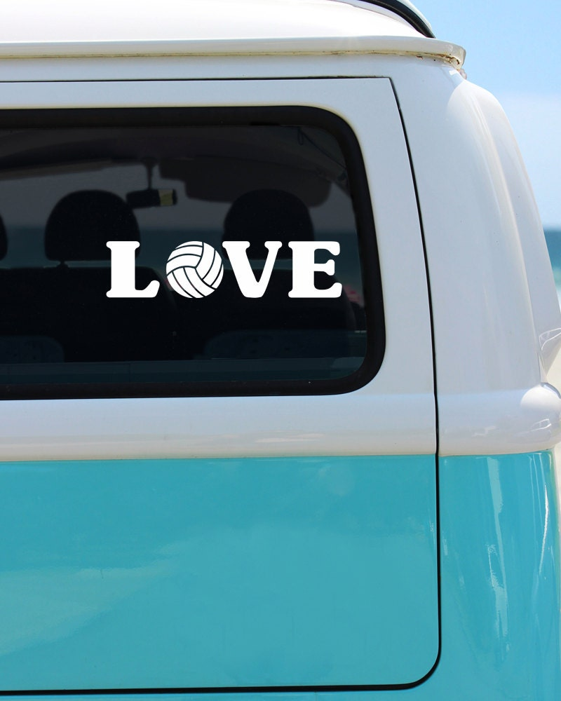 Volleyball Love Vinyl Window Decal Car Sticker Sports Decal - Car window decal stickers sports
