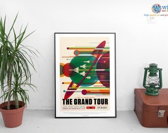 NASA Travel Poster - Grand Tour - JPL / Exoplanet Art / Print. HD Lustre Quality.