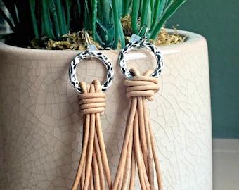 Leather Tassel Earrings, Boho Leather Earrings, Pewter and Leather Dangle Earrings, Bohemian Jewelry, Hippie Boho Earrings