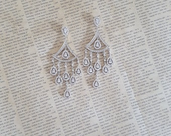 Bridal Earrings, Swarovski Crystal Earrings, Wedding Earrings, Chandelier Earrings, Statment Earrings, Large Earrings, Bridal Jewelry