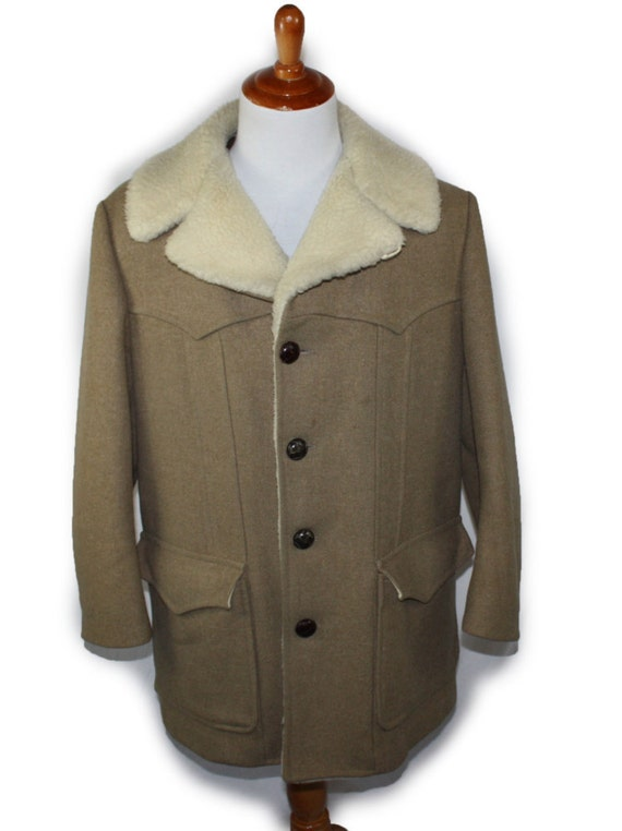 Coat wool sherpa ranch jacket 1960s high grade western wear tweed barn