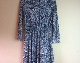 Large/XL Paisley Day Dress ~ 1970s/1980s Vintage