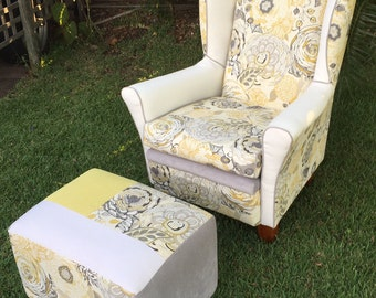 SOLD-Custom upholstered Wingback armchair & footstool