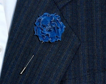 Flower Lapel Pin Navy Blue Leather Rose Brooches Mens Flowers Wedding Boutonniere mens accessories for Men gift ideas for him Christmas gift