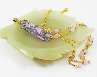 Pink Pendant, Floral Pendant, Lampwork Pendant, Beaded Chain, Swarovski Crystals, Mother's Day Gift. Birthday Gift, for Her