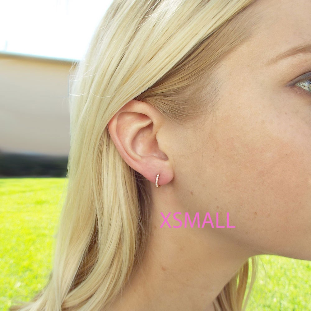 XSmall Dainty CZ micro pave huggie hoop earrings Extra small hoops cartilage hoops Tiny hoop earrings cz diamond huggies