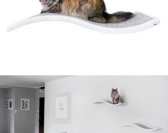 Cat perch, Shelf Wave, floating cat shelves, pet design, cat shelves, cat furniture, curve bed