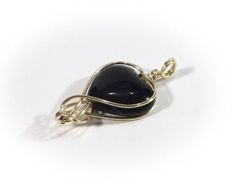 HEART set with black onyx  an elegant set: earrings - black onyx in gold-plated wire